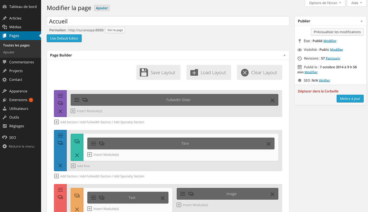 theme divi : wordpress admin avec visual composer