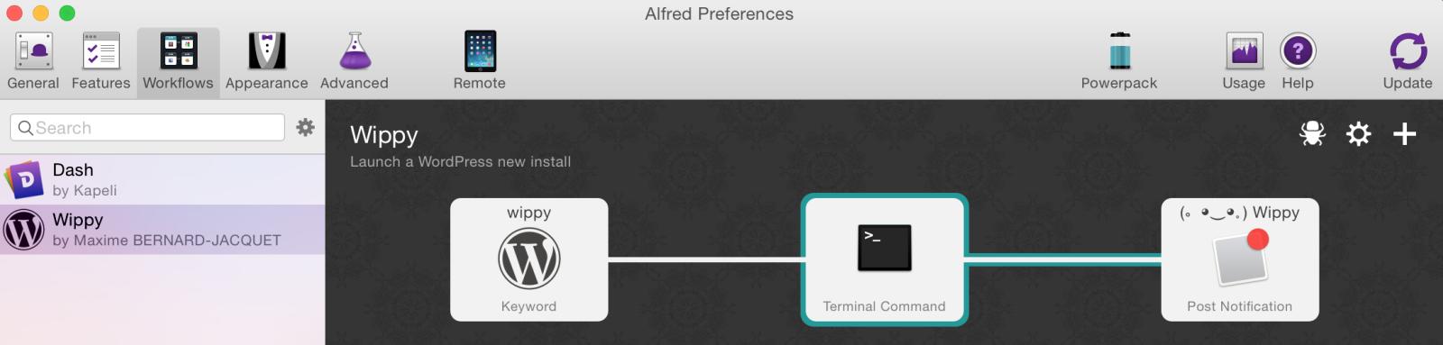 Créer un workflow Alfred