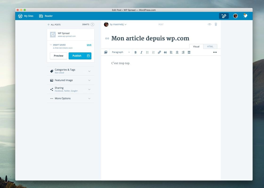 redaction d'un article WordPress
