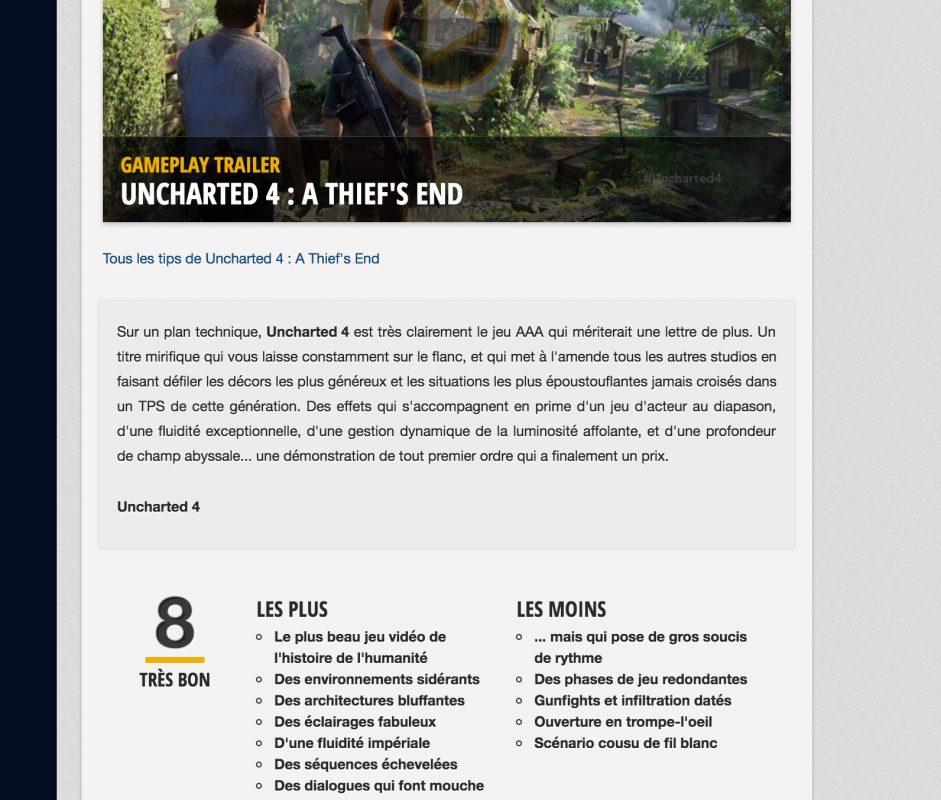Un blog de jeux vidéo avec des champs additionnels personnalisés