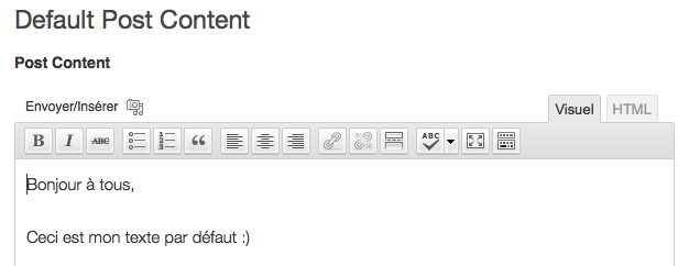 Editeur de Default Post Content