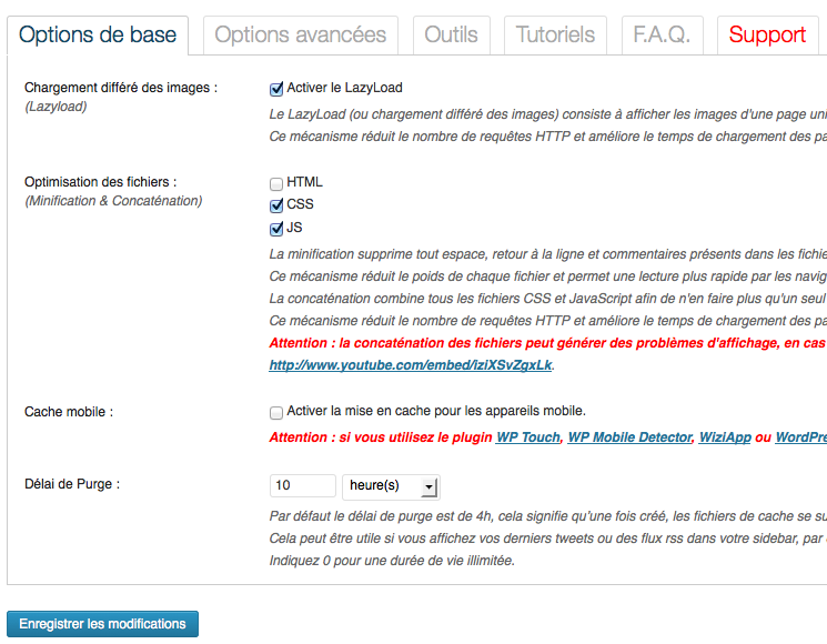 Page d'options de WP Rocket : simple et intuitive