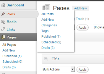 Menu des pages avec Post by Type Access