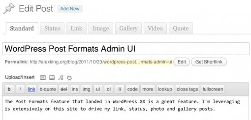 WordPress Post Formats Admin UI