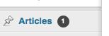 "Aperçu de la bulle de notification du menu ""Articles"""