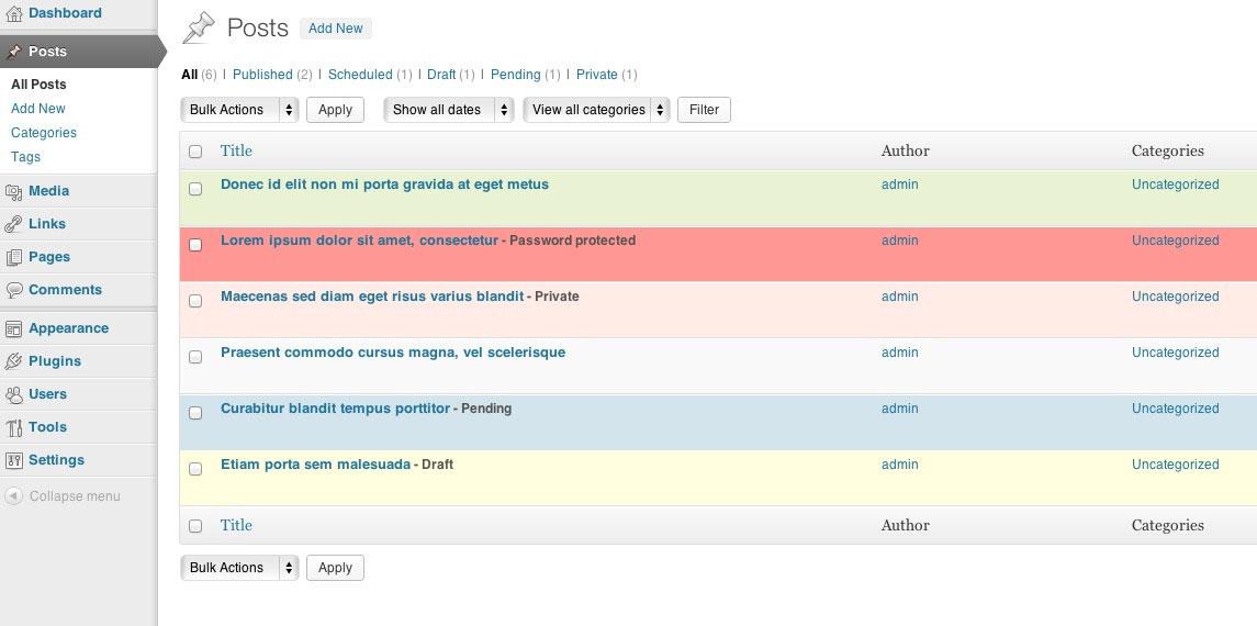 Liste des articles après configuration de Color My Posts Pro