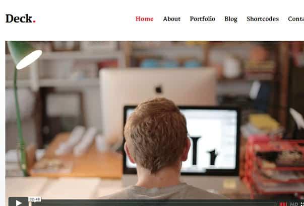 Aperçu du thème WordPress Deck