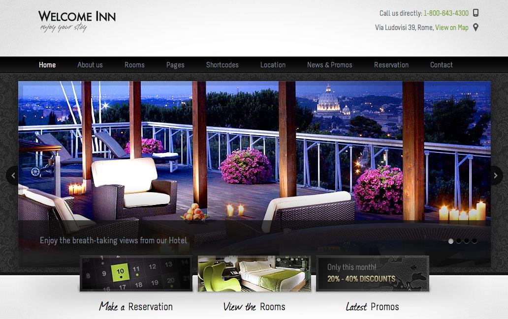 Aperçu du thème WordPress Welcome Inn