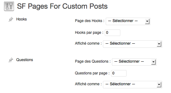 Administration de SF Pages Custom Post Type