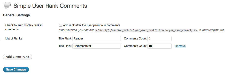 Administration de Simple User Rank Comments