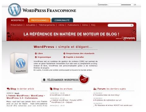 Capture écran du site WordPress FR