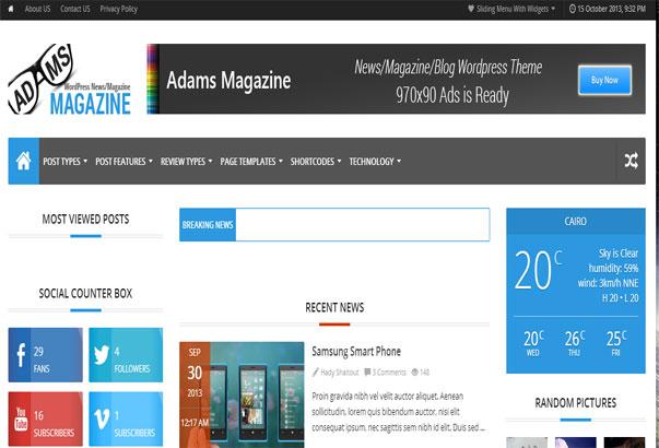 Aperçu du thème WordPress Adams