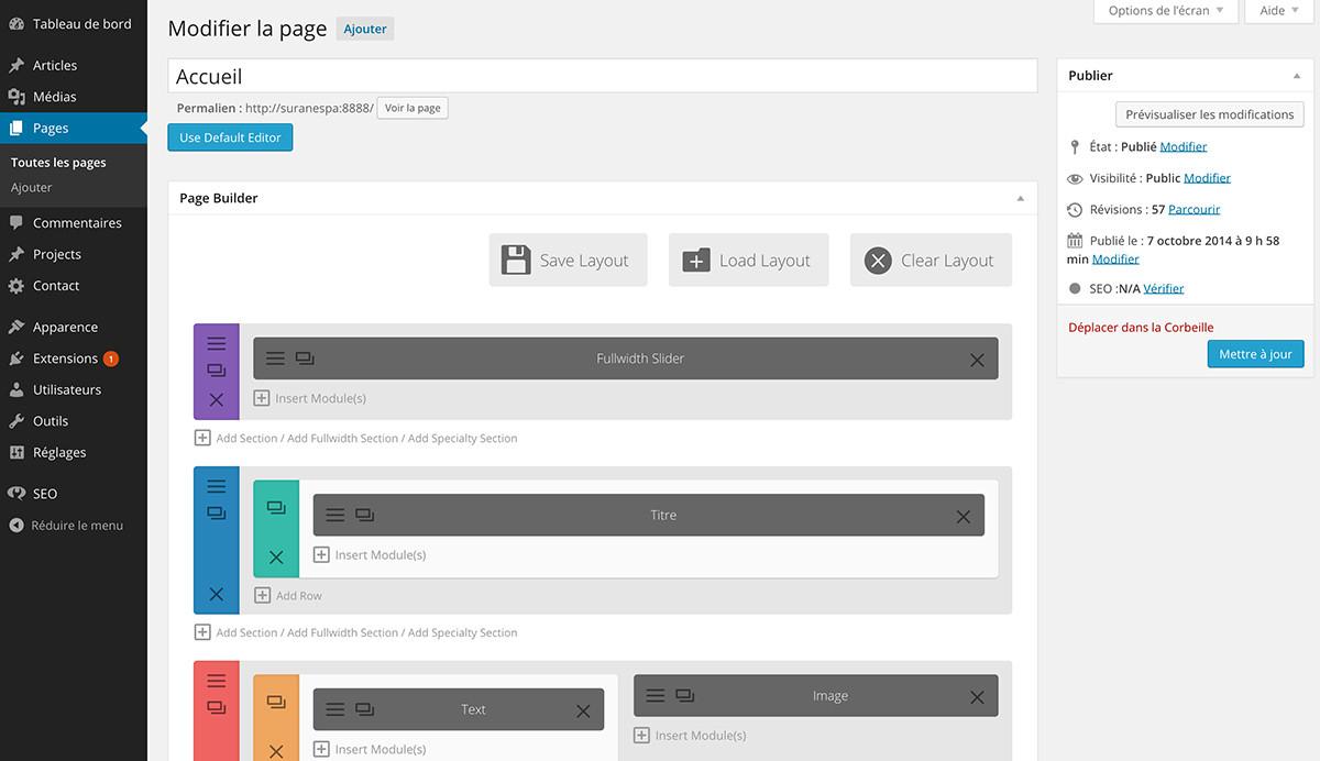 theme divi : wordpress admin avec visual composer