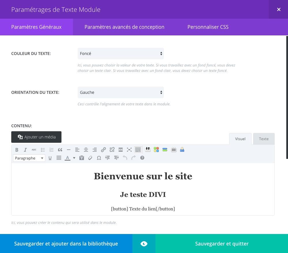 interface admin revue
