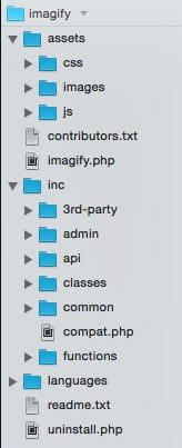 Architecture des dossiers du plugin Imagify