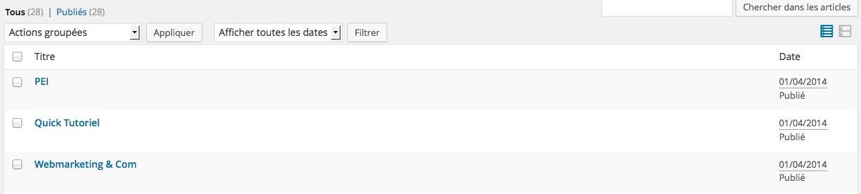 Les colonnes par défaut proposées par WordPress