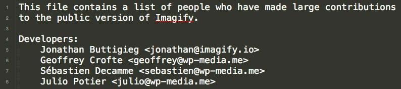 Fichier contributors.txt d'Imagify