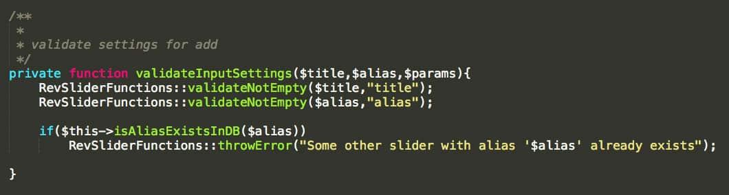 Une fonction non-commentée du plugin Revolution Slider