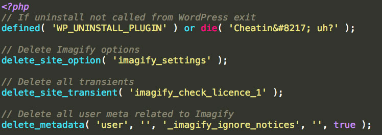 Le fichier uninstall.php du plugin Imagify