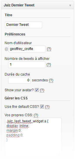 Options du Widget