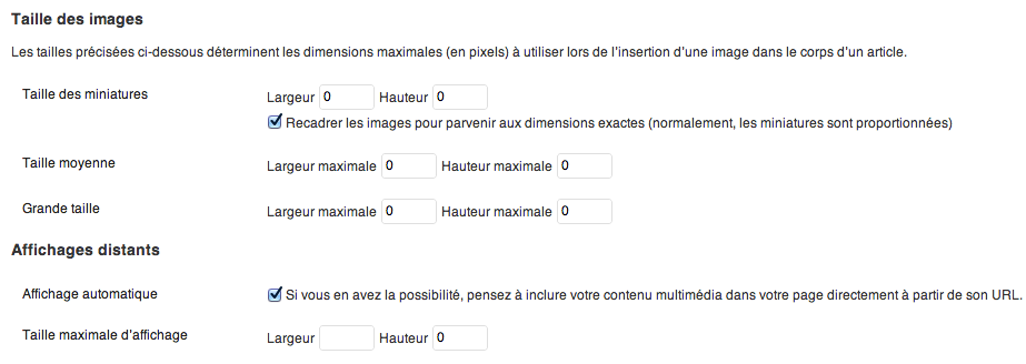 Administration de la largeur maximale de l'API oEmbed sur WordPress 3.4.2
