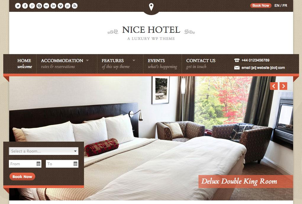Aperçu du thème WordPress Nice Hotel