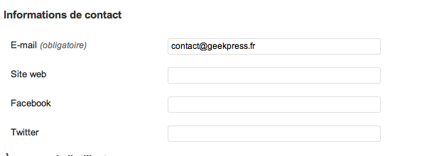 Nouveau champs de contact WordPress